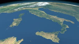 Tyrrhenian Sea in planet earth, aerial view from outer space