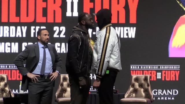tyson fury and deontay wilder kicked off their final press conference with a shoving match ahead of saturday's wbc heavyweight title rematch before... - world title stock videos & royalty-free footage