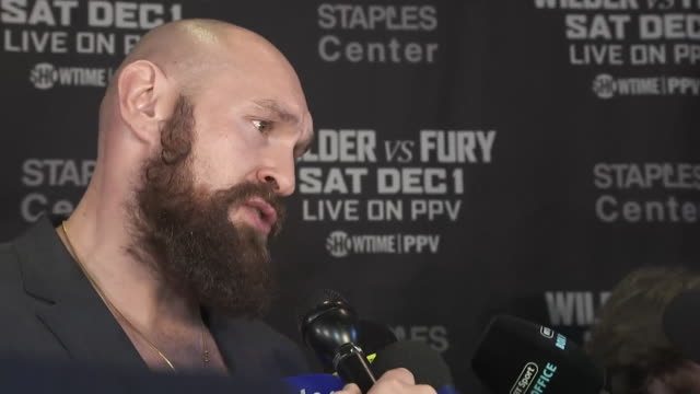 tyson fury saying it is a miracle he was able to return to boxing after mental health issues and weight gain to challenge for the world heavyweight... - miracle stock videos & royalty-free footage
