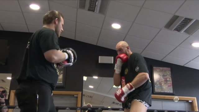 tyson fury training on the pads in preparation for his world heavyweight title fight against deontay wilder - boxing stock videos & royalty-free footage