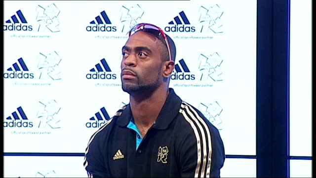 Tyson Gay press conference Tyson Gay question and answer session SOT Tyson Gay posing with adidas sports shoe