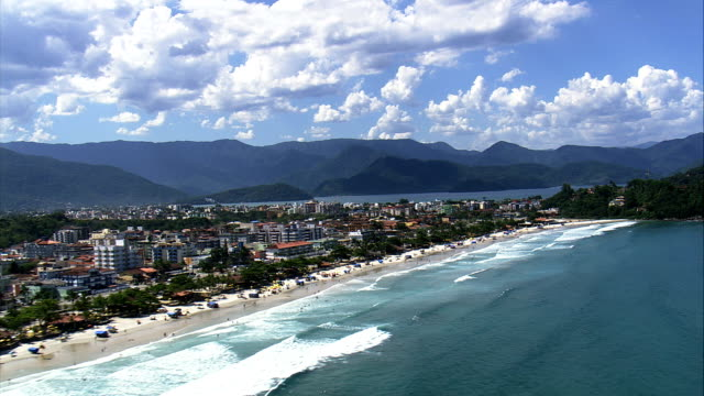 ubatuba  - aerial view - são paulo,ubatuba,brazil - são paulo stock videos & royalty-free footage