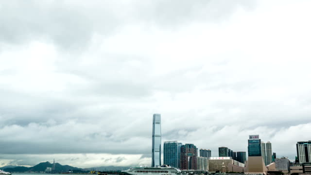 t/l ws pan ubran skyline of hongkong /hongkong - tilt down stock videos & royalty-free footage