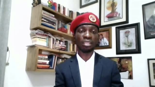 uganda elections marred by violence against opposition; uganda : int bobi wine interview via internet sot england: london: int cutaway to reporter. - politics stock videos & royalty-free footage