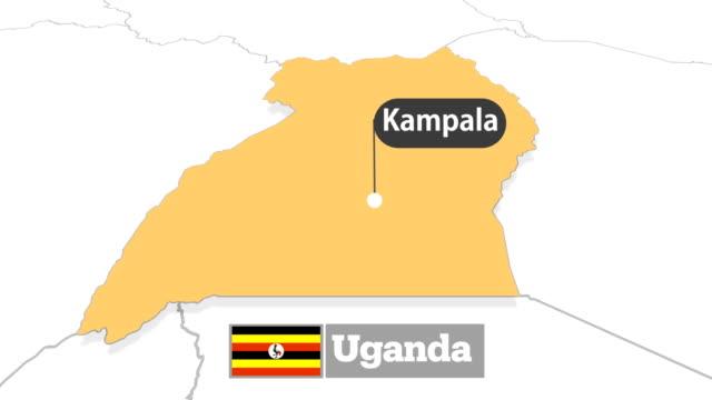 ウガンダの地図フラグ - ウガンダ点の映像素材/bロール