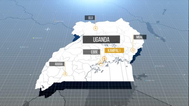 Uganda-Karte mit Etikett dann mit Etikett
