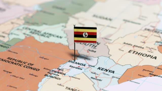 ウガンダの国旗と - ウガンダ点の映像素材/bロール