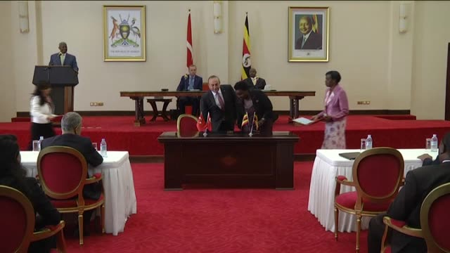 ugandan defense minister c.w.c.b. kiyonga, ugandan tourism, wildlife and antiquities minister maria mutagamba, turkey's new economy minister nihat... - kampala stock videos & royalty-free footage