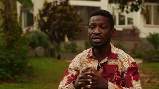 ugandan general election: bobi wine interview; uganda: kampala: ext bobi wine interview sot. - ugandan president yoweri museveni should be ashamed -... - kampala stock-videos und b-roll-filmmaterial