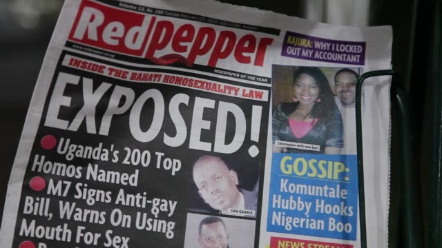 ugandan newspaper listed tuesday 200 people it accused of being gay, a day after the president called homosexuals mercenaries and signed one of the... - kampala stock videos & royalty-free footage