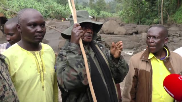 ugandan president yoweri kagura museveni and prime minister ruhakana rugunda visit eastern bududa after 43 people died when a landslide caused a... - kagura stock videos & royalty-free footage
