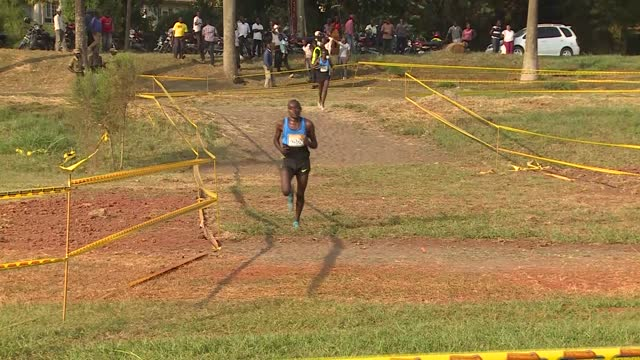 uganda's elite athletics world champions competing against each other at kololo airstrip at the national cross country championship. star runners... - kampala stock videos & royalty-free footage