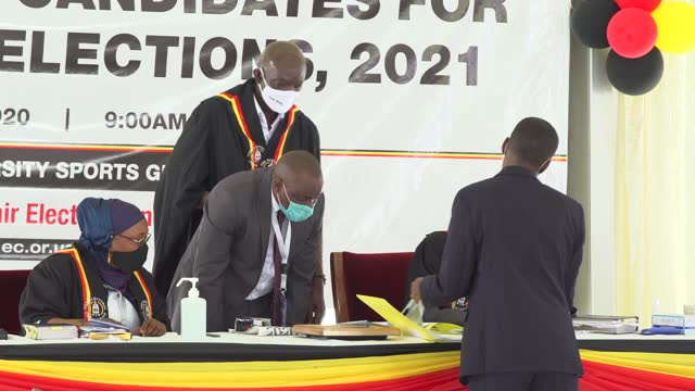 vidéos et rushes de uganda's president yoweri kaguta museveni being nominated by the country's electoral commission to contest in the 2021 presidential elections. he... - kampala
