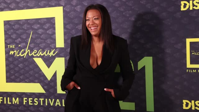 stockvideo's en b-roll-footage met ugenia stokes attends micheaux film festival partners with oprah winfrey network and sony pictures entertainment for 1st hybrid festival in los... - filmfestival