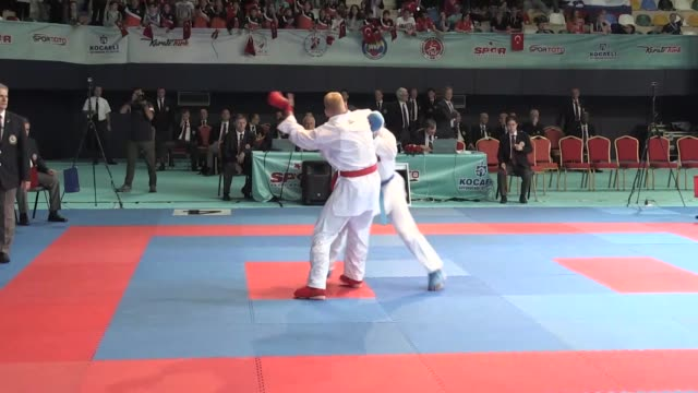 ugur aktas of turkey advances to final after winning the competition against noah bitsch of germany at kumite male 84kg eliminations during the 52nd... - elimination round stock videos and b-roll footage