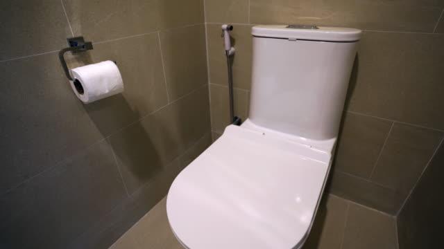 uhd/4k apple prores (hq) : flushing white toilet bowl - bathroom stock videos & royalty-free footage