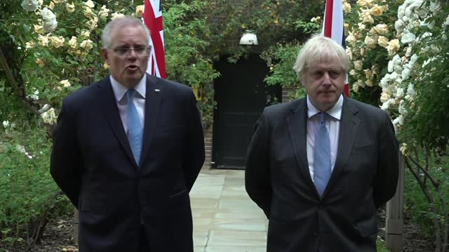 australia trade deal: boris johnson and scott morrison joint press conference; england: london: westminster: downing street: boris johnson and scott... - war and conflict stock videos & royalty-free footage