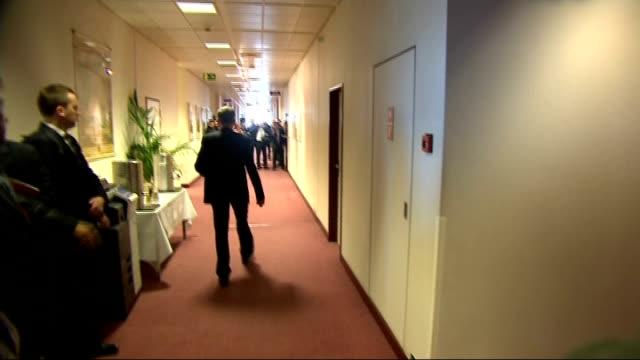 European leaders attend emergency EU summit BELGIUM Brussels EXT Press in media pen / car arriving / Jose Manuel Barroso arriving / car arriving /...