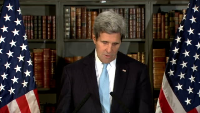 London talks fail to achieve diplomatic breakthrough Kerry press conference ENGLAND London Regent's Park Winfield House INT John Kerry across to...