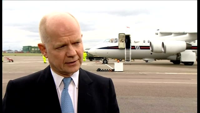 world leaders warn russia of serious repercussions if it invades ukraine england london raf northolt william hague mp interview sot the uk will join... - will.i.am stock videos & royalty-free footage