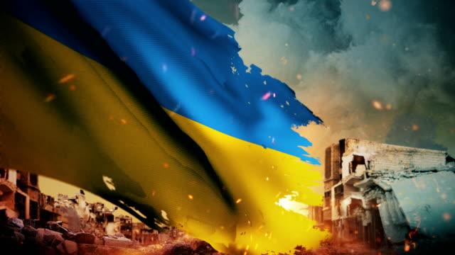 4k ukraine flag - crisis / war / fire (loop) - battle stock videos & royalty-free footage