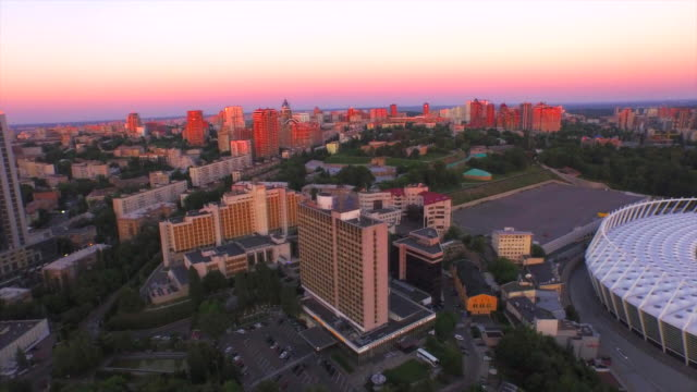 ukraine, kiev, aerial view from sportivnaya square - キエフ市点の映像素材/bロール