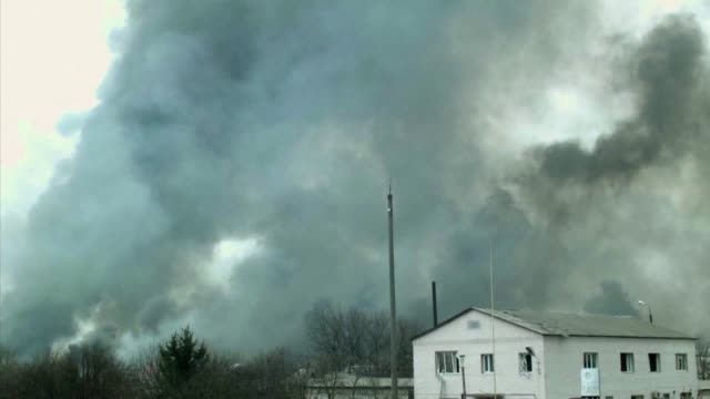ukraine says that a fire raging at a munitions depot in the country's east which the military blamed on an act of sabotage could continue for up to a... - sabotage stock videos & royalty-free footage