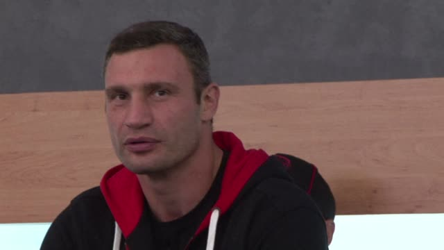 ukraine's boxing champion and aspiring opposition politician vitali klitschko and his german challenger manual charr meet reporters ahead of their... - heavyweight stock videos and b-roll footage
