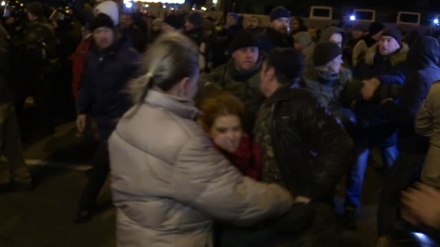 Ukrainian activists clashes with police during their rally dedicated to the third anniversary of the Euromaidan Revolution at Independence Square in...