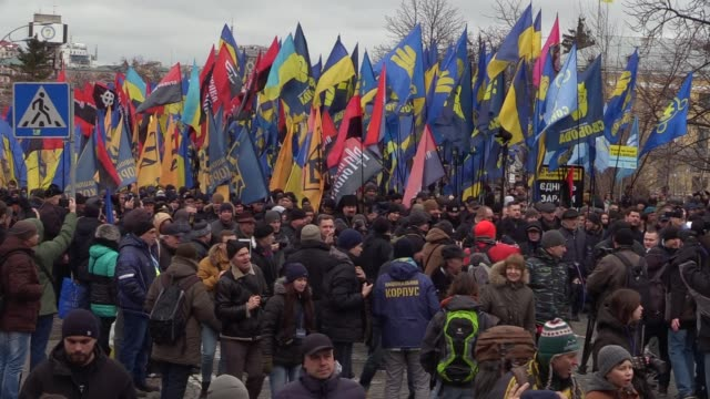 Ukrainian activists of different nationalist parties attend March of National Pride in center of Kiev Ukraine 22 February2017 Activists announced...