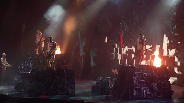 ukrainian band o torvald performs on a stage during the final of the ukrainian national qualification for the eurovision song contest in kiev ukraine... - 61st eurovision song contest stock videos and b-roll footage