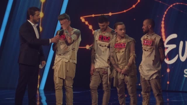 ukrainian band otorvald celebrates victory at the final of the ukrainian national qualification for the eurovision song contest in kiev ukraine 25... - 61st eurovision song contest stock videos and b-roll footage