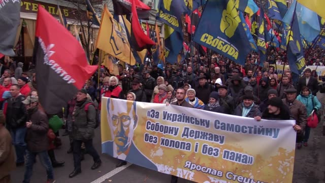 Ukrainian farright activists from different nationalist parties attend a March of Glory of Heroes in central Kiev Ukraine 14 October 2017 About...