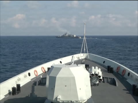 ukrainian frigate hetman sahaydachniy viewed from chinese frigate khen shui in gulf of aden during nato's anti pirate operation ocean shield - military ship stock videos & royalty-free footage