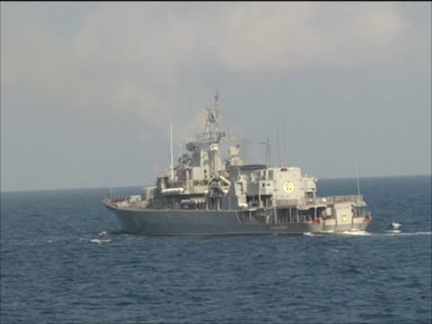 ukrainian frigate hetman sahaydachniy viewed from chinese frigate khen shui in gulf of aden during nato's anti pirate operation ocean shield - navy stock videos & royalty-free footage