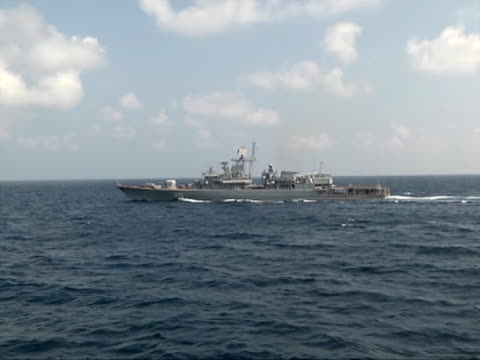 ukrainian frigate hetman sahaydachniy viewed from chinese frigate khen shui in gulf of aden during nato's anti pirate operation ocean shield - warship stock videos & royalty-free footage