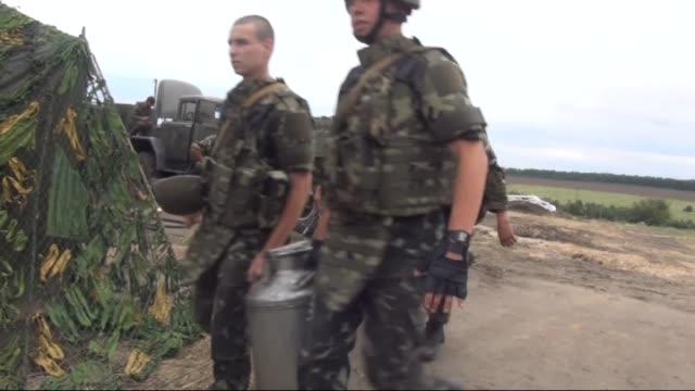 ukrainian interior minister arsen avakov inspects the facilities in a military headquarters in izium city in the kharkiv region ukraine on july 15... - kharkov stock videos & royalty-free footage