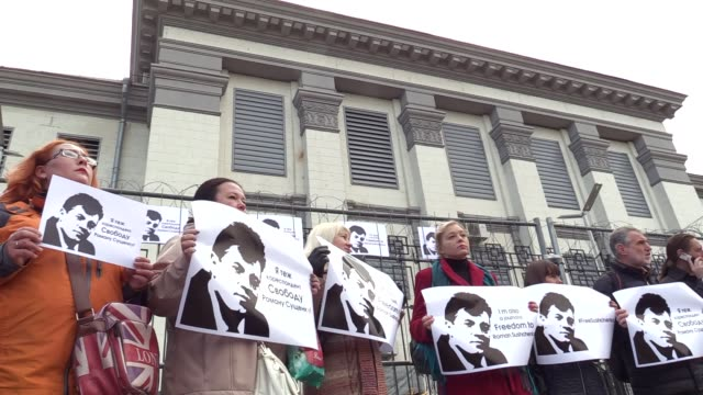 Ukrainian journalists hold placards reading ''Free Sushchenko''during their protest with demand the freedom Ukrainian journalist Roman Sushchenkoin...