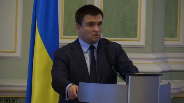 Ukrainian Minister of Foreign Affairs Pavlo Klimkin speaks during a press conference with German Minister of Foreign Affairs Sigmar Gabriel in Kiev...