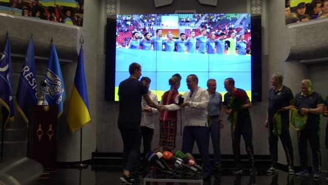 Ukrainian national soccer team players attend a meeting ceremony at the Football Federation of Ukraine in Kiev Ukraine 16 June 2019 Ukrainian...