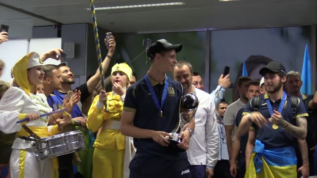 ukrainian national soccer team players celebrate after the arrival of the ukrainian national soccer team at boryspil international airport near kiev,... - international team soccer stock videos & royalty-free footage