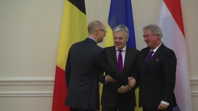 Ukrainian PM Arseniy Yatsenyuk meets with the Foreign ministers of Luxembourg Jean Asselborn and Belgium Didier Reynders in Kiev