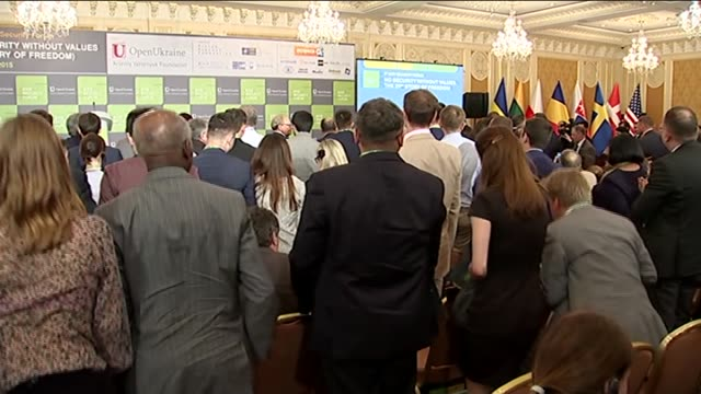 Ukrainian President Petro Poroshenko and Ukrainian Prime Minister Arseniy Yatsenyuk attend 8th Kiev Security Forum on May 28 2015 in Kiev Ukraine...