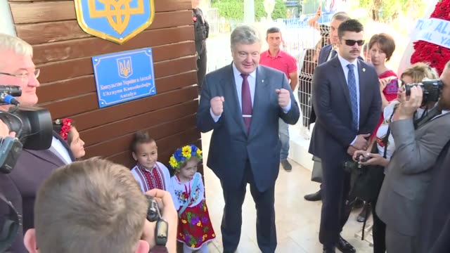 ukrainian president petro poroshenko attends the opening ceremony of the ukrainian consulate in turkey's mediterranean province of antalya on... - mediterranean turkey stock videos and b-roll footage