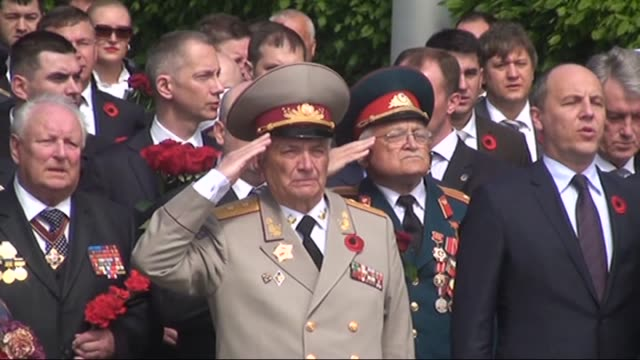 Ukrainian President Petro Poroshenko Ukrainian Prime Minister Arseniy Yatsenyuk with WWII veterans and Ukrainian officials attend Victory Day...