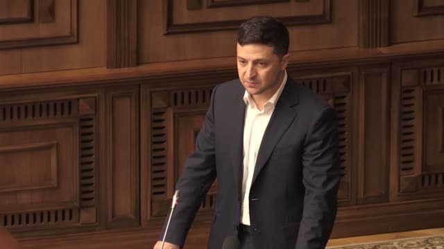 Ukrainian President Volodymyr Zelensky defends his position at the Constitutional Court which is set to rule on the legality of his decision to...