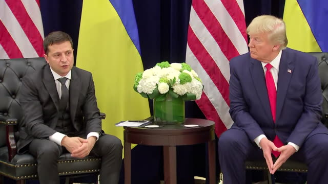 ukrainian president volodymyr zelensky describes his phone call with u.s. president donald trump during a press conference. - 2019 stock videos & royalty-free footage