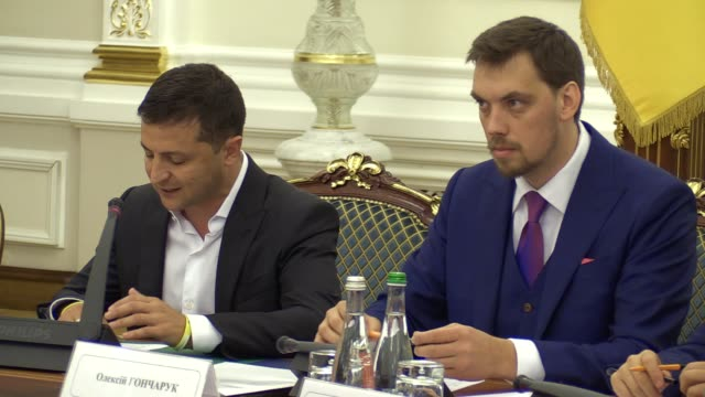 ukrainian president volodymyr zelensky speaks and newly-appointed ukrainian prime minister oleksiy honcharuk listens , during a meeting of ukrainian... - politics and government stock videos & royalty-free footage