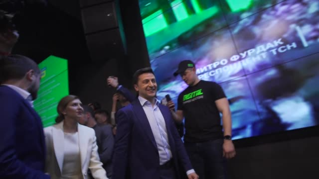 ukrainian presidential hopeful volodymyr zelensky taking to the stage as he waits to hear exit poll results - comedian stock videos & royalty-free footage