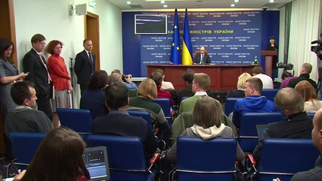 Ukrainian Prime Minister Arseniy Yatsenyuk advocates for a collective security system to contain Russia speaking to journalists at a press conference...